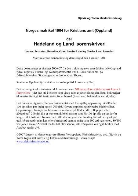 1904 Matrikkel Hadeland og Land ocr 200dpi v5.pdf - DIS-Norge