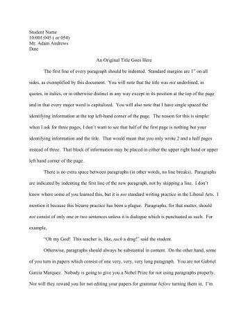 Essay Formatting Requirements - University of Iowa