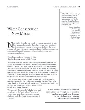 Water Conservation in New Mexico - Utton Transboundary ...