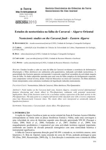 Estudos de neotectónica na falha de Carcavai – Algarve Oriental