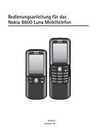 Bedienungsanleitung für das Nokia 8600 Luna Mobiltelefon