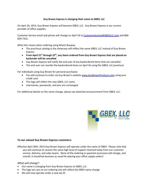 GBEX, LLC announcement - Units muohio edu