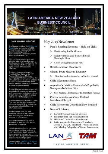 May 2013 Newsletter - Latin America New Zealand Business Council