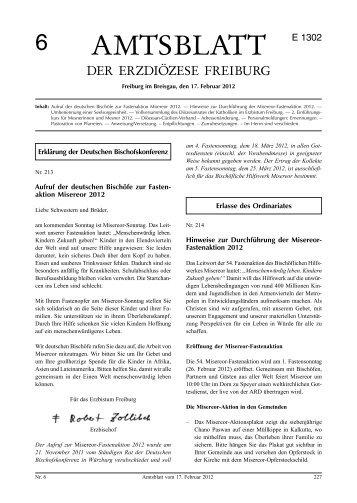 Amtsblatt Nr. 6 - Erzbischöfliches Ordinariat Freiburg