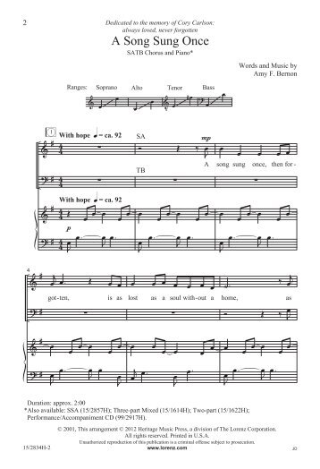 15-2834H A Song Sung Once SATB.mus - JW Pepper