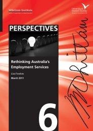 Rethinking Australia's employment services - Whitlam Institute