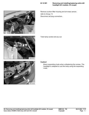 RA 63 12 001 - Removing and installing/replacing ... - Ad Kusters