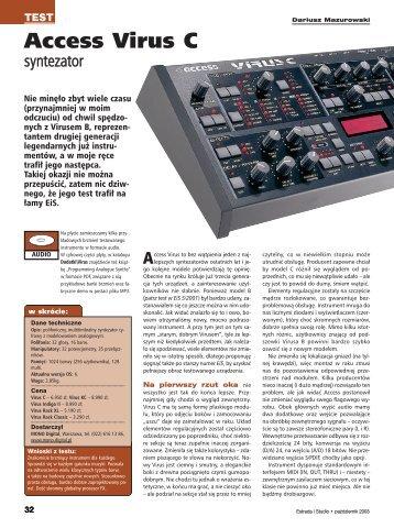 Access Virus C Estrada i Studio październik 2003 - Audiostacja