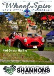 Wheelspin November 2012 - Sporting Car Club of SA