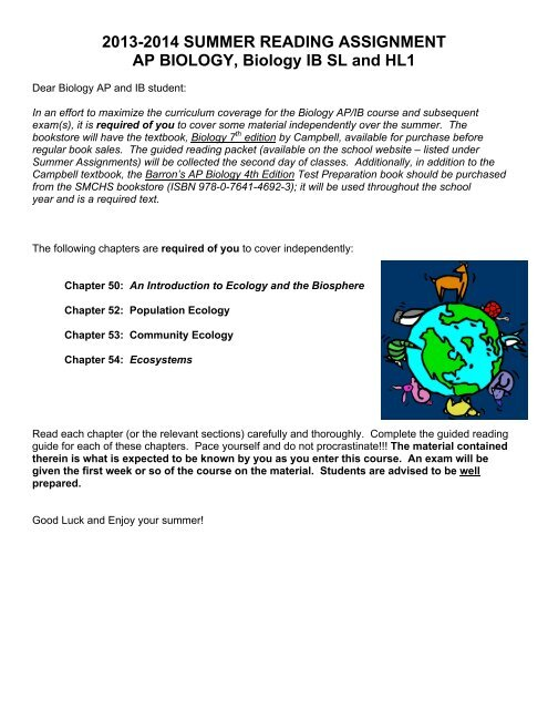 BIOLOGY APIB Summer Assignment With Guided Reading 1314