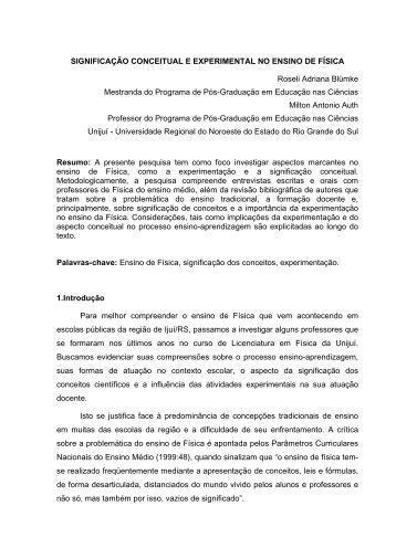 significação conceitual e experimental no ensino de física