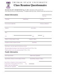 Class Reunion Questionnaire - Alumni - Truman State University
