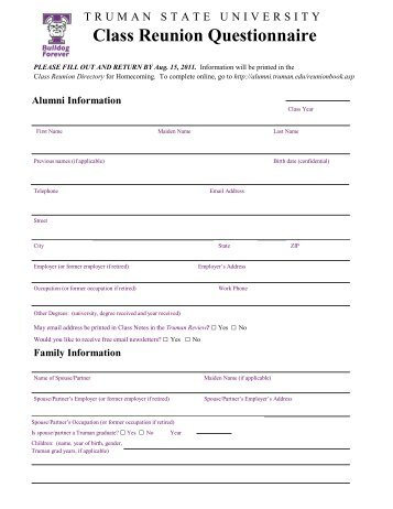 class reunion questionnaire alumni truman state university