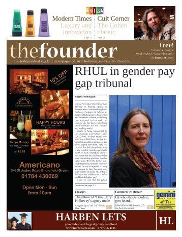 RHUL in gender pay gap tribunal - The Founder