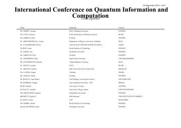 International Conference on Quantum Information and Computation