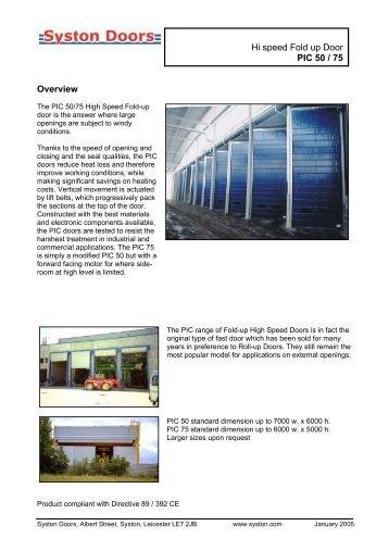 Hi speed Fold up Door PIC 50 / 75 Overview - Syston Doors