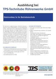 Ausbildung bei - TPS TECHNITUBE RÖHRENWERKE GmbH
