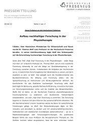 Aufbau nachhaltiger Forschung in der Physiotherapie - Hochschule ...