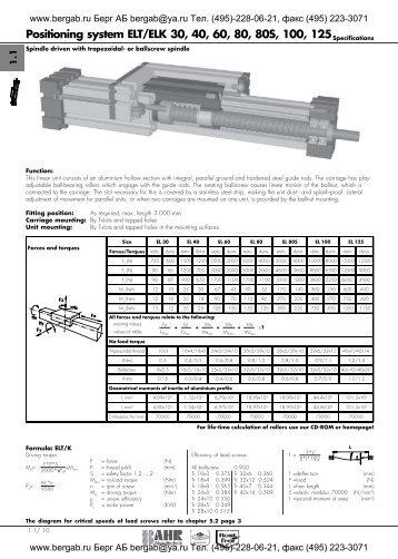 Positioning system ELT/ELK 30, 40, 60, 80, 80S, 100 ...