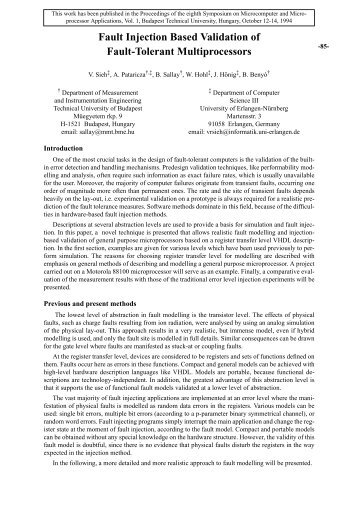 Fault Injection Based Validation of Fault-Tolerant ... - ResearchGate