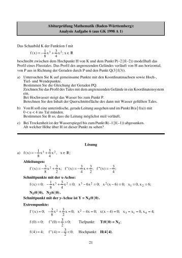 Analysis Aufgabe 6 (aus GK 1998 A 1) - Philipp-Reis-Schule