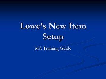 Lowe's New Item Setup - LowesLink