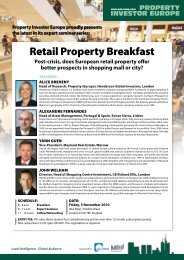Retail Property Breakfast - Property Investor Europe