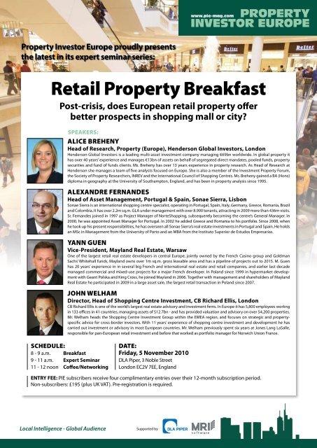 Retail Property Breakfast - Property Investor Europe
