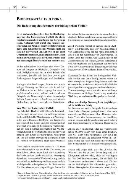 BIODIVERSITÄT IN AFRIKA Die Bedeutung des Schutzes der ...