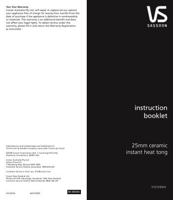 instruction booklet - VS Sassoon