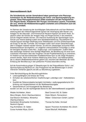 MM Ideenwettbewerb Nov09 - Volksschulgemeinde Egnach