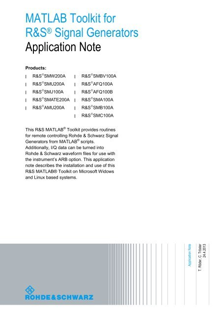 MATLAB Toolkit for R&S® Signal Generators Application Note