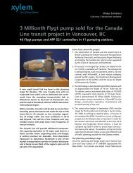 3 Millionth Flygt pump sold for the Canada Line ... - Water Solutions