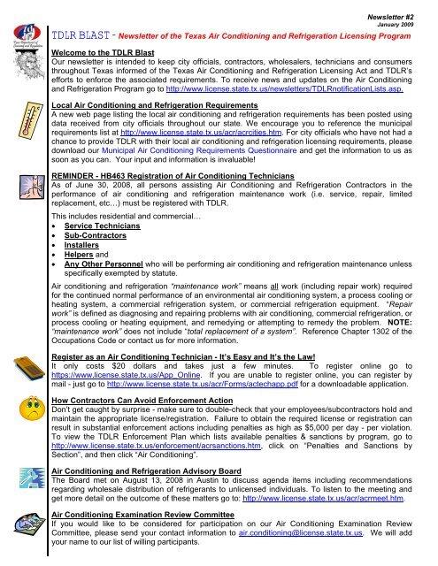 TDLR BLAST - Texas Department of Licensing and Regulation