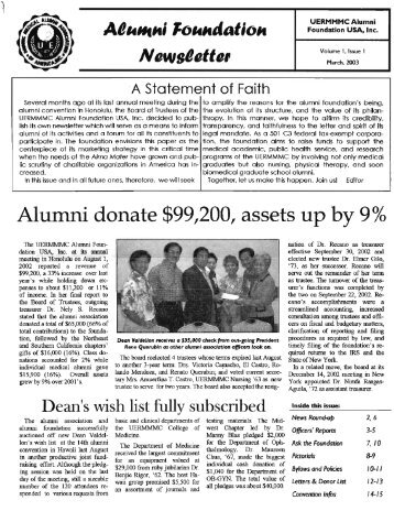 2003 March - UERMMMC Alumni Foundation USA, Inc.