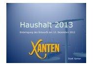 Präsentation Haushalt 2013 12.12.12 - im Rathaus der Stadt Xanten