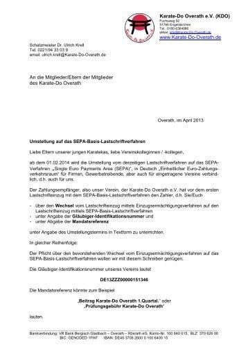 20130228 Umstellung auf SEPA an Mitglieder - Karate-Do Overath ...