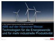 ABB auf der Hannover Messe Technologien für die Energiewende ...