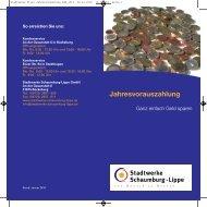 Jahresvorauszahlung - Stadtwerke Schaumburg-Lippe