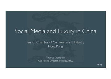 Social Media and Luxury in China - French Chamber of Commerce ...