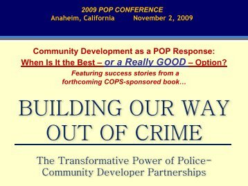Community Development as a POP Response - Center for Problem ...