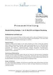 Pressemitteilung - Tourismus Ostallgäu
