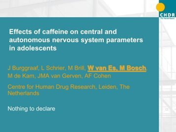 Effects of caffeine on central and autonomous nervous system