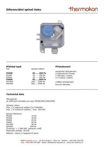 Diferenciální spínač tlaku - REM-Technik sro