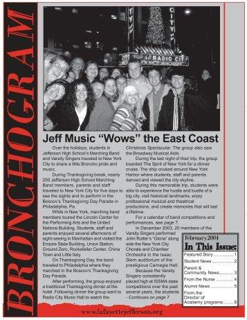 "Jeff Music ""Wows"" the East Coast - Jefferson High School"