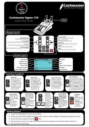 Sigma 170 Quick Start Guide USA - Cashmaster