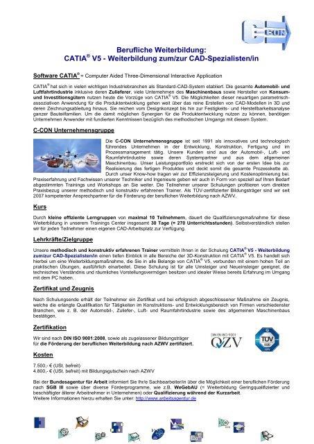CATIA V5 – Weiterbildung zum CAD-Spezialisten - C-Con GmbH