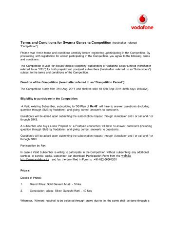 Terms and Conditions for Swarna Ganesha Competition ... - Vodafone