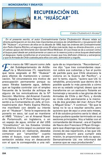 """RECUPERACIÓN DEL R.H. """"HUÁSCAR"""" - Revista de Marina"""