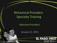 Behavioral Specialty Training For Jan 31, 2013 - El Paso First ...